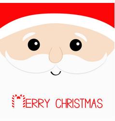 merry christmas candy cane santa claus big head vector image