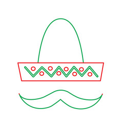 mexican hat and mustache carnival costume vector image
