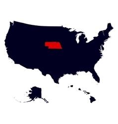 Nebraska state in the united states map vector