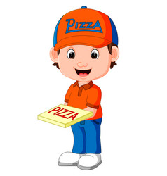 pizza delivery man cartoon vector image