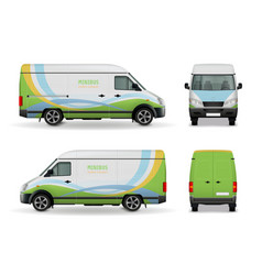 realistic cargo van advertising design mockup vector image