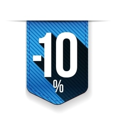 Sale ten percent off banner blue ribon vector