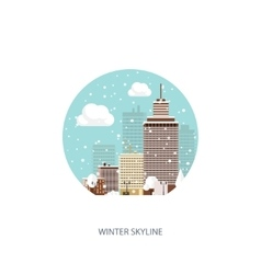 Winter urban landscape City vector image vector image