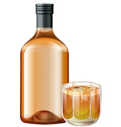 Whisky in glass and bottle vector