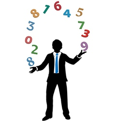 Business man juggling financial number crunching vector image