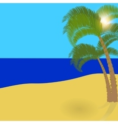 Two lonely palm trees on an exotic island a vector