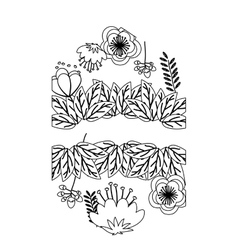 Isolated flowers frame decoration design vector