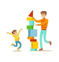 Dad and son building a tower with blocks happy vector