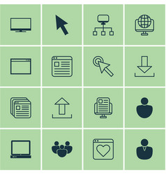 set of 16 world wide web icons includes program vector image