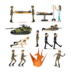 Flat icons set of military people and vector