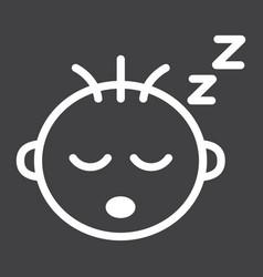 Baby boy sleep line icon child and infant vector