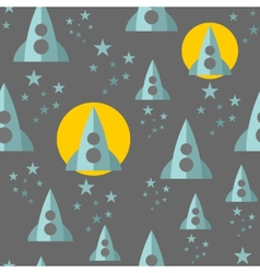 Seamless pattern with space ship vector