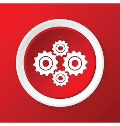 Cogs icon on red vector