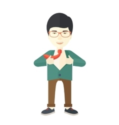 Happy working man to change his clothes vector