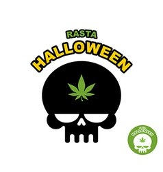 Skull with marijuana cannabis rasta halloween vector