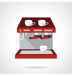 Red espresso machine flat icon vector