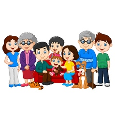 Big family with grandparents isolated vector