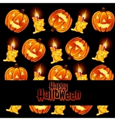 Texture of the candles and lamps pumpkin with text vector