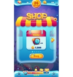 Sweet world mobile gui shop screen for video web vector