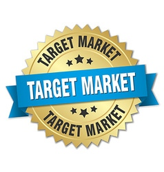 Target market 3d gold badge with blue ribbon vector