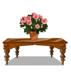 Classic wooden table with bouquet of flowers vector