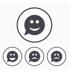 Speech bubble smile face icons happy sad cry vector