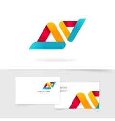 Abstract logo isolated two rounded vector