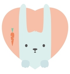 Animal set portrait of a rabbit in love flat vector