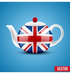 Background of English ceramic teapot with flag of vector image