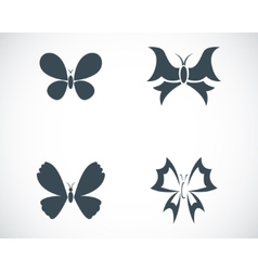 Black buttefly icons set vector