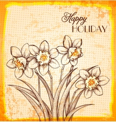 Bouquet of flowers narcissus in hand-drawn style vector image