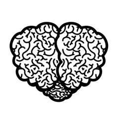 Brain silhouette monochrome with top view vector