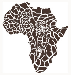 Continent Africa in a giraffe camouflage vector image