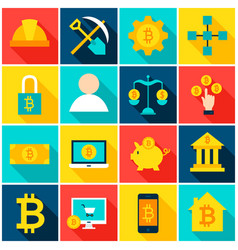 cryptocurrency bitcoin colorful icons vector image