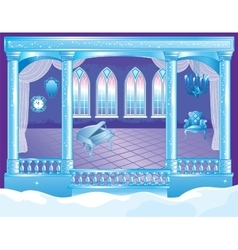 Fairytale ice palace ballroom vector