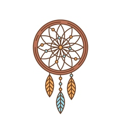 Flat dreamcatcher thin lined icon indian symbol vector