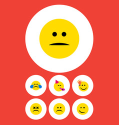 Flat icon emoji set of displeased sad party time vector