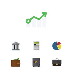 Flat icon finance set of growth calculate vector
