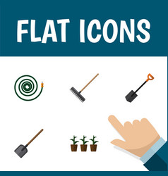 Flat icon garden set of spade shovel flowerpot vector