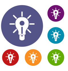 Glowing light bulb icons set vector