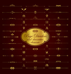 Golden page dividers and ornamental elements vector
