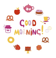Good morning design with sweets vector