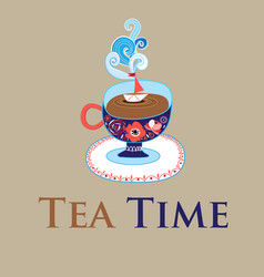 Greeting card with cup of tea vector