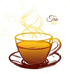 Ink hand drawn cup of tea vector image