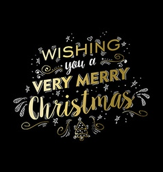 Merry christmas gold doodle lettering design vector image vector image