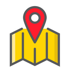 Pinpoint on map filled outline icon geolocation vector