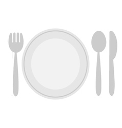 Plate dish with fork and knife vector