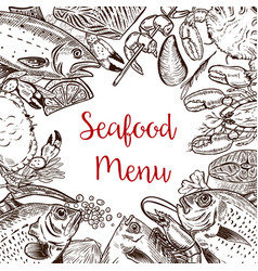 Seafood fresh menu template fish crab shrimp vector