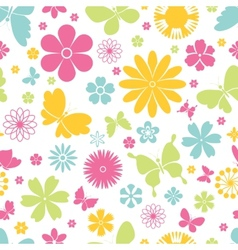 Spring butterflies and flowers seamless pattern vector