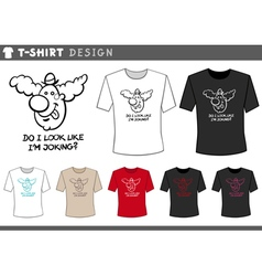 t shirt design with clown vector image vector image